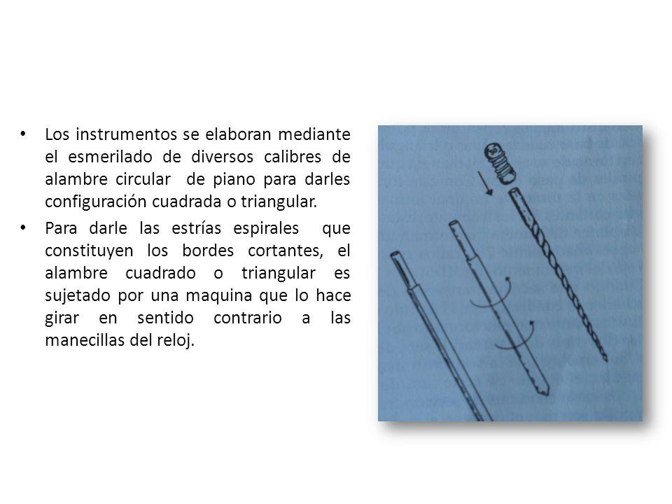 Los instrumentos se elaboran mediante el esmerilado de diversos calibres de alambre circular de piano para darles configuración cuadrada o triangular.