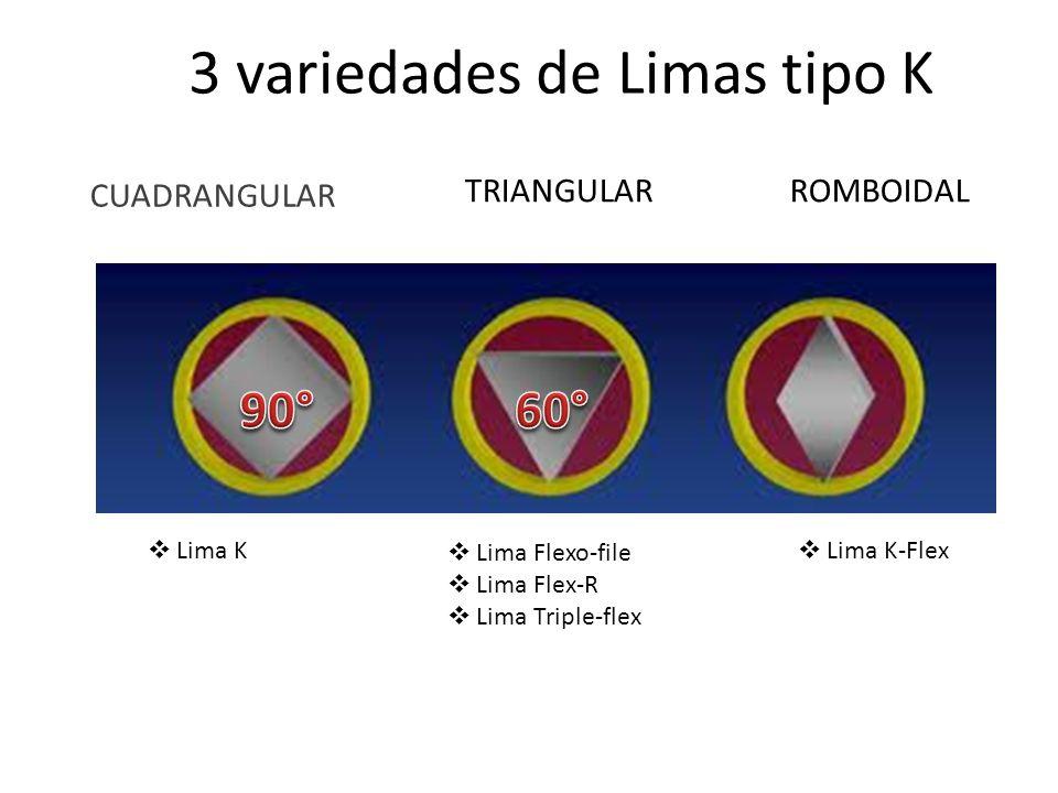 3 variedades de Limas tipo K CUADRANGULAR TRIANGULARROMBOIDAL Lima K Lima Flexo-file Lima Flex-R Lima Triple-flex Lima K-Flex