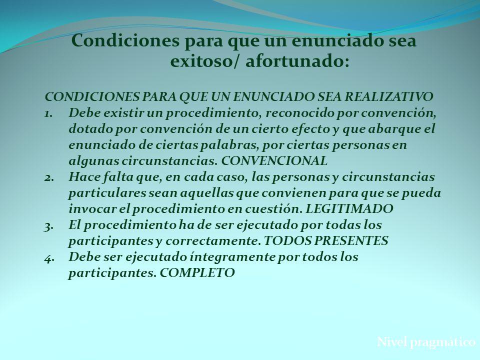 Condiciones para que un enunciado sea exitoso/ afortunado: CONDICIONES PARA QUE UN ENUNCIADO SEA REALIZATIVO 1.Debe existir un procedimiento, reconoci