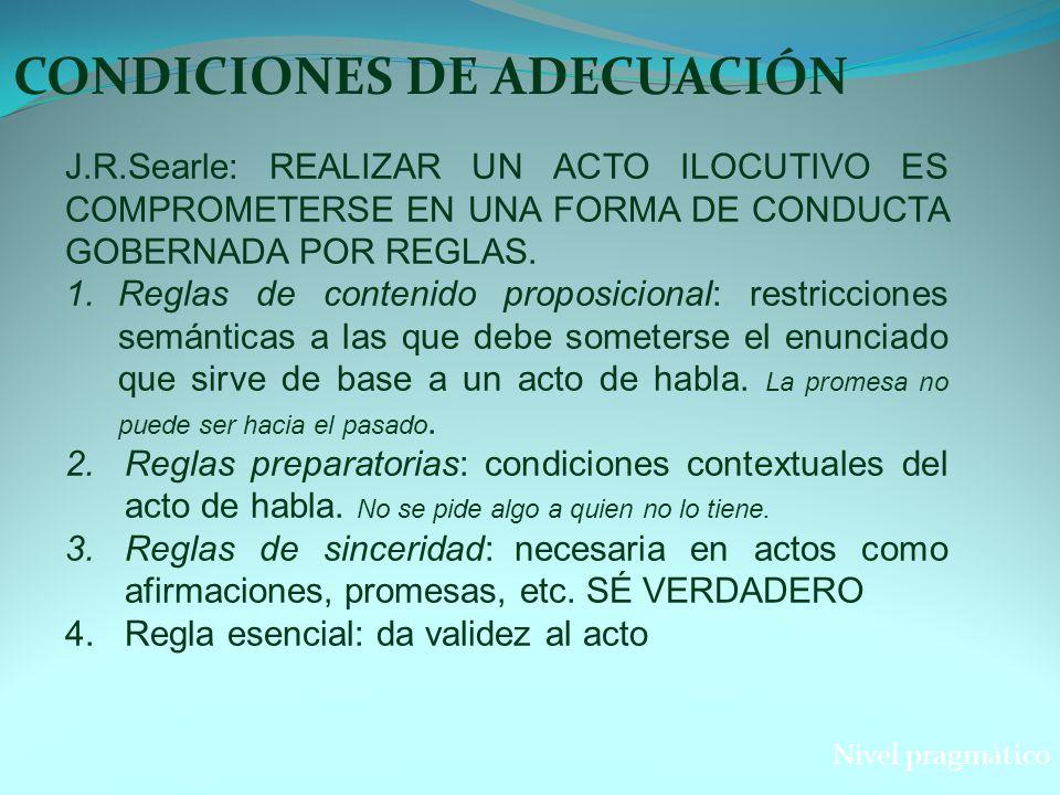 CONDICIONES DE ADECUACIÓN Nivel pragmático J.R.Searle: REALIZAR UN ACTO ILOCUTIVO ES COMPROMETERSE EN UNA FORMA DE CONDUCTA GOBERNADA POR REGLAS. 1.Re