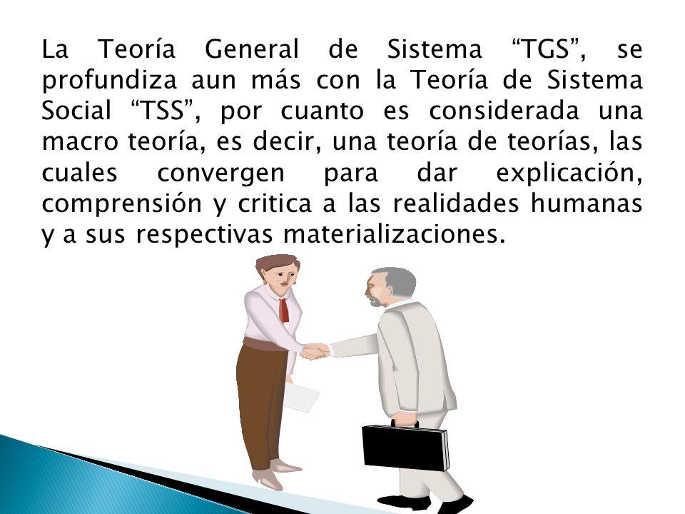 La Teoría General de Sistema TGS, se profundiza aun más con la Teoría de Sistema Social TSS, por cuanto es considerada una macro teoría, es decir, una