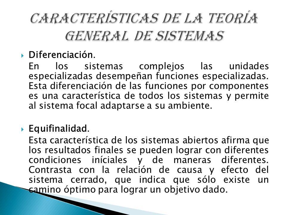 Diferenciación. En los sistemas complejos las unidades especializadas desempeñan funciones especializadas. Esta diferenciación de las funciones por co