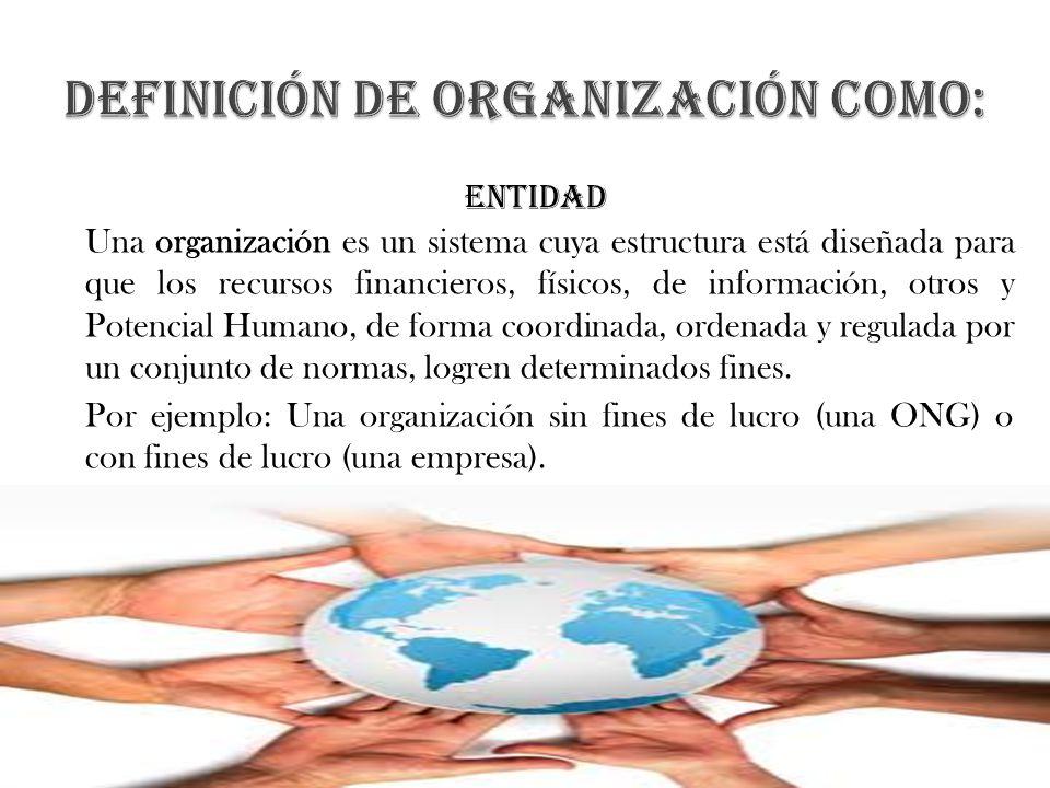 entidad Una organización es un sistema cuya estructura está diseñada para que los recursos financieros, físicos, de información, otros y Potencial Hum