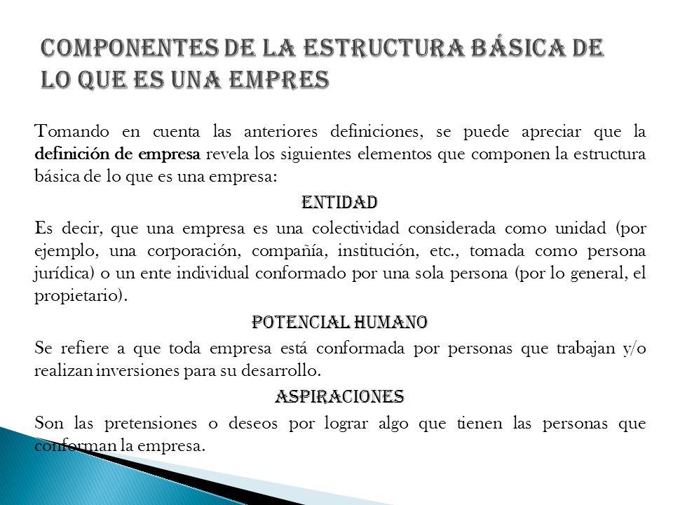 Tomando en cuenta las anteriores definiciones, se puede apreciar que la definición de empresa revela los siguientes elementos que componen la estructu