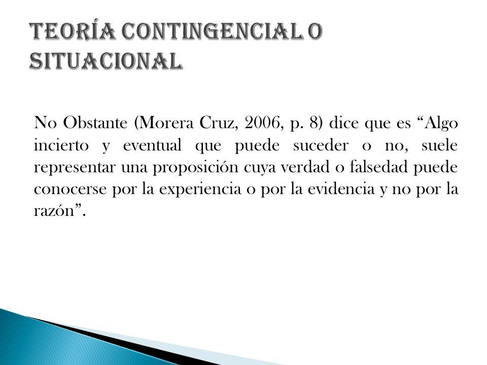 No Obstante (Morera Cruz, 2006, p. 8) dice que es Algo incierto y eventual que puede suceder o no, suele representar una proposición cuya verdad o fal
