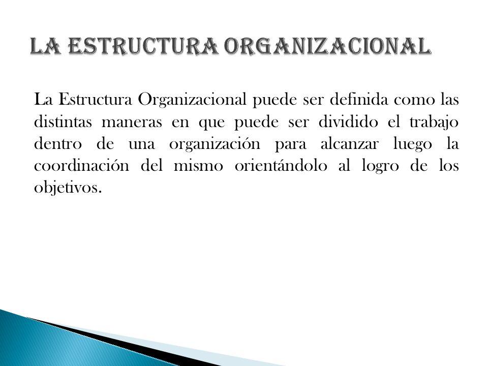 La Estructura Organizacional puede ser definida como las distintas maneras en que puede ser dividido el trabajo dentro de una organización para alcanz