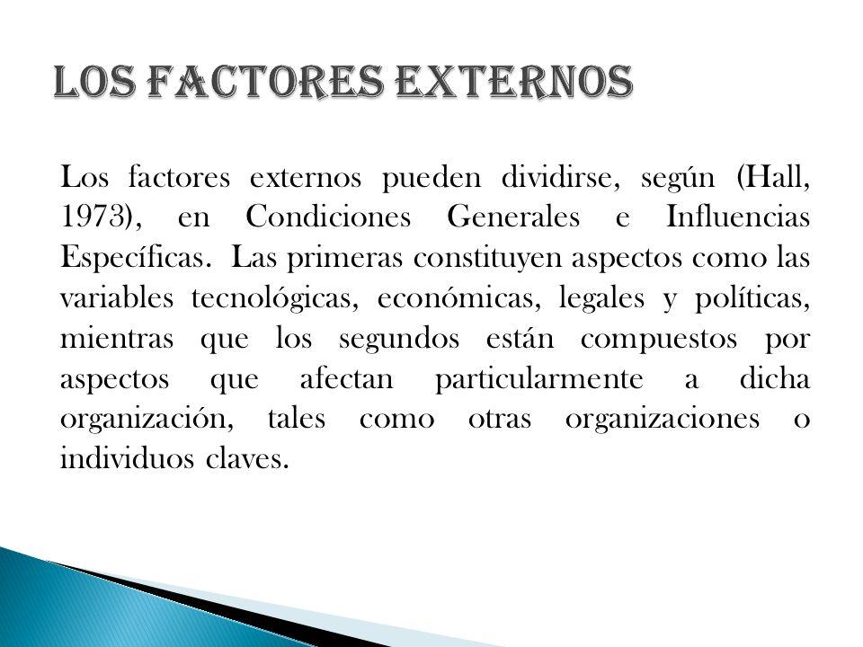 Los factores externos pueden dividirse, según (Hall, 1973), en Condiciones Generales e Influencias Específicas. Las primeras constituyen aspectos como