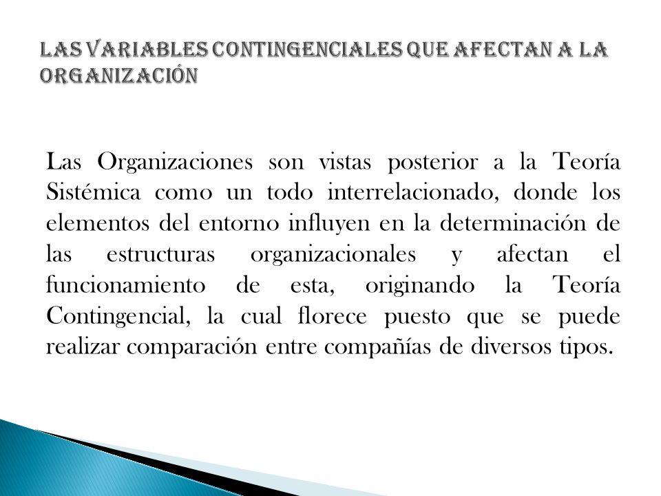 Las Organizaciones son vistas posterior a la Teoría Sistémica como un todo interrelacionado, donde los elementos del entorno influyen en la determinac