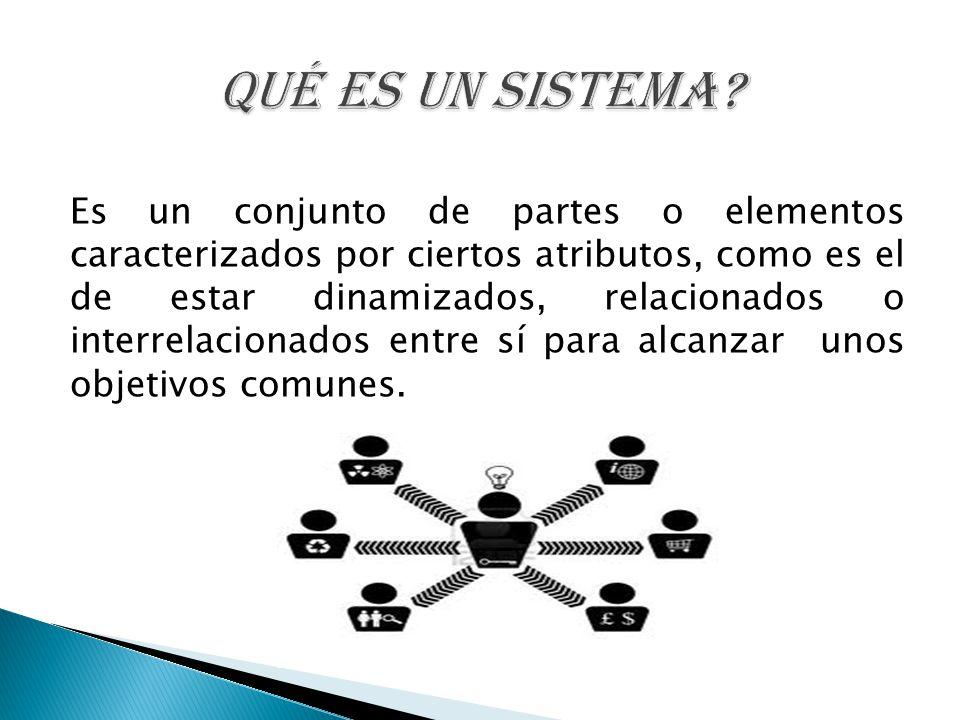 Es un conjunto de partes o elementos caracterizados por ciertos atributos, como es el de estar dinamizados, relacionados o interrelacionados entre sí