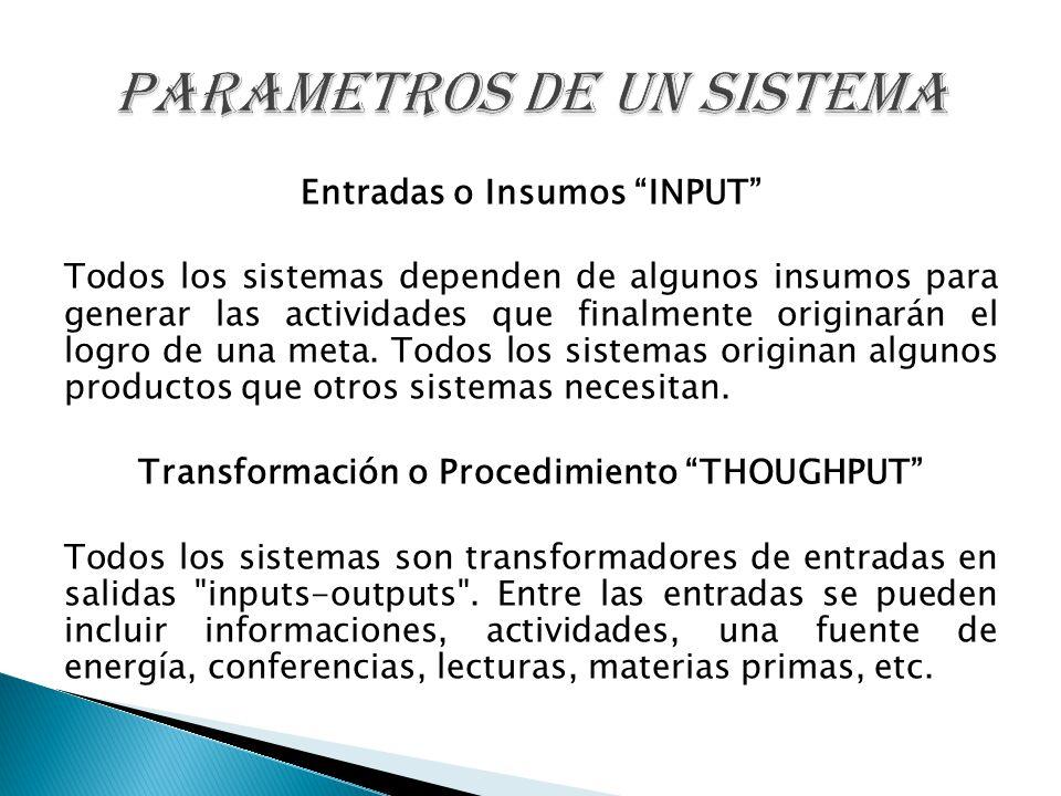 Entradas o Insumos INPUT Todos los sistemas dependen de algunos insumos para generar las actividades que finalmente originarán el logro de una meta. T