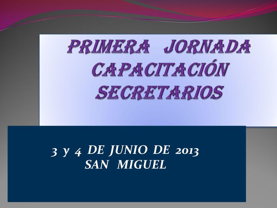 Objetivos de la Jornada Asesorar, orientar, capacitar en la gestión técnico administrativa a los Secretarios y Prosecretarios de las instituciones educativas de los distintos Niveles y Modalidades del distrito de San Miguel.