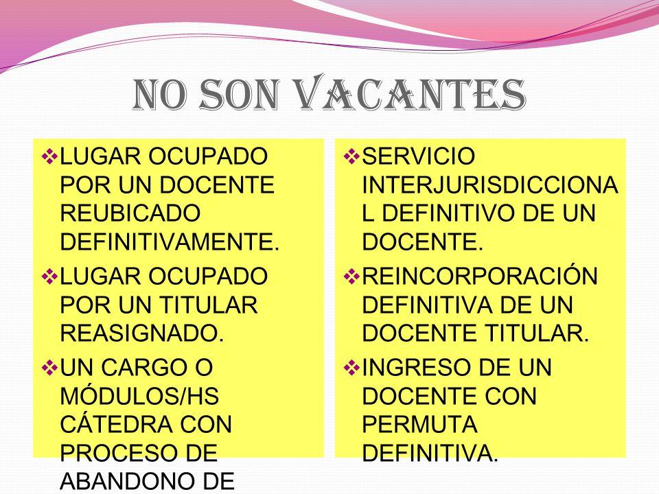 NO SON VACANTES LUGAR OCUPADO POR UN DOCENTE REUBICADO DEFINITIVAMENTE.