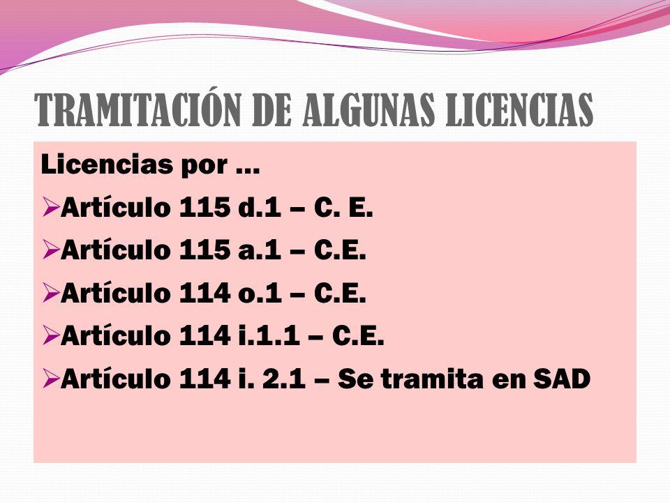 TRAMITACIÓN DE ALGUNAS LICENCIAS Licencias por … Artículo 115 d.1 – C. E. Artículo 115 a.1 – C.E. Artículo 114 o.1 – C.E. Artículo 114 i.1.1 – C.E. Ar