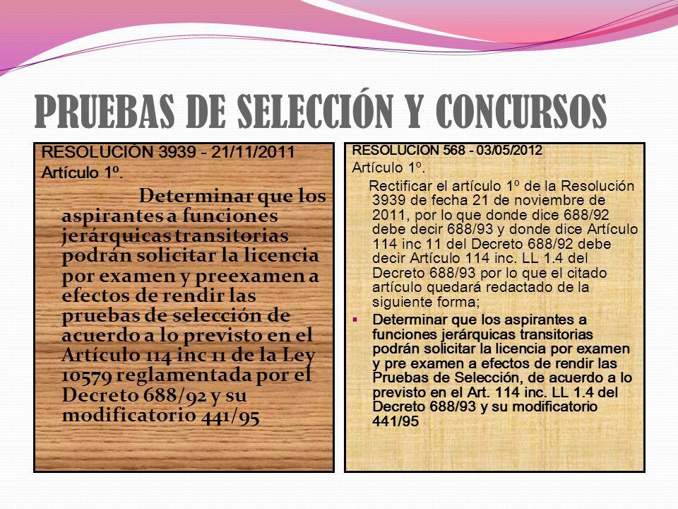 PRUEBAS DE SELECCIÓN Y CONCURSOS RESOLUCIÓN 3939 - 21/11/2011 Artículo 1º. Determinar que los aspirantes a funciones jerárquicas transitorias podrán s