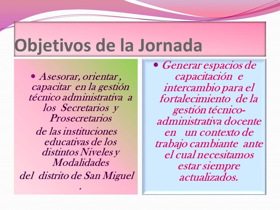 Objetivos de la Jornada Asesorar, orientar, capacitar en la gestión técnico administrativa a los Secretarios y Prosecretarios de las instituciones edu