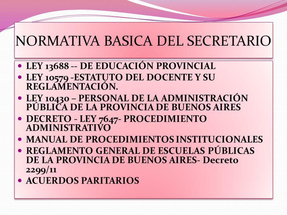 NORMATIVA BASICA DEL SECRETARIO LEY 13688 -- DE EDUCACIÓN PROVINCIAL LEY 10579 -ESTATUTO DEL DOCENTE Y SU REGLAMENTACIÓN. LEY 10430 – PERSONAL DE LA A