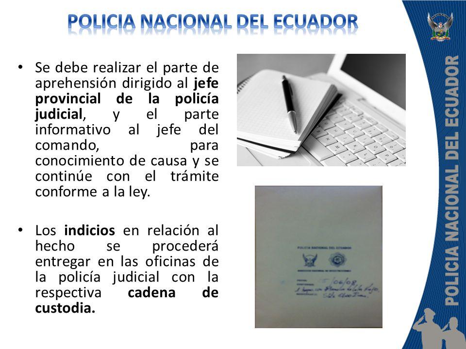 Se debe realizar el parte de aprehensión dirigido al jefe provincial de la policía judicial, y el parte informativo al jefe del comando, para conocimi