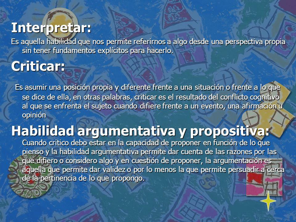 COMPETENCIA ArgumentarCriticarInterpretarProponer Ambientes letrados