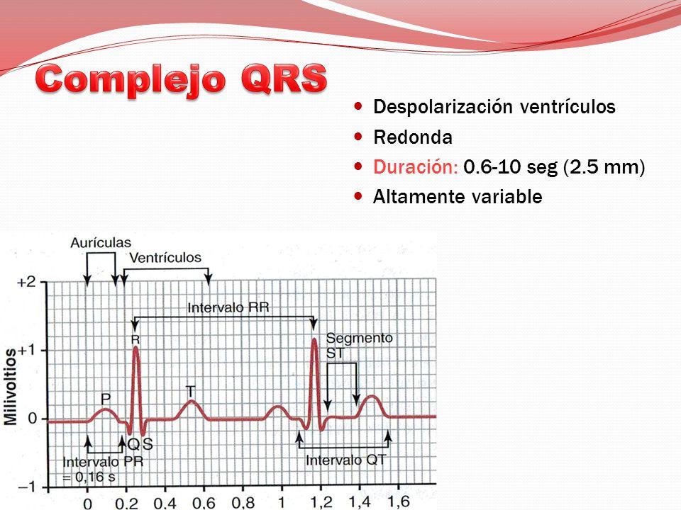 Despolarización ventrículos Redonda Duración: 0.6-10 seg (2.5 mm) Altamente variable