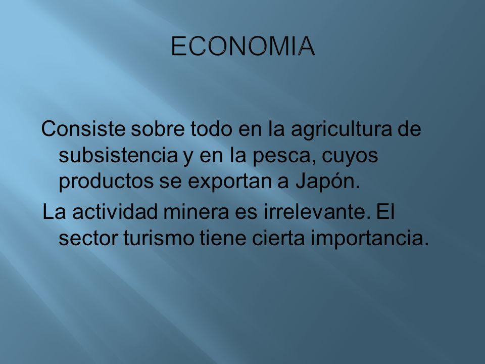 Consiste sobre todo en la agricultura de subsistencia y en la pesca, cuyos productos se exportan a Japón. La actividad minera es irrelevante. El secto