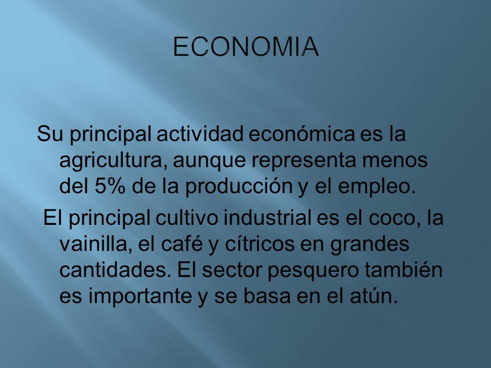 Su principal actividad económica es la agricultura, aunque representa menos del 5% de la producción y el empleo. El principal cultivo industrial es el