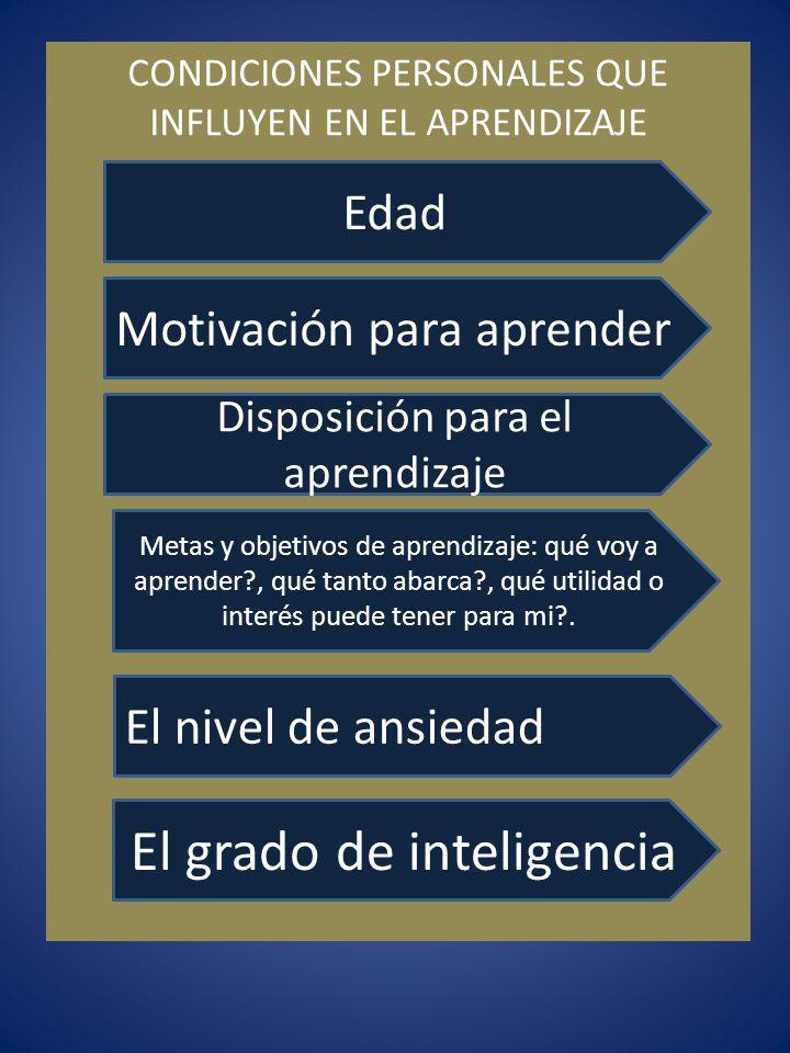 CONDICIONES PERSONALES QUE INFLUYEN EN EL APRENDIZAJE El grado de inteligencia El nivel de ansiedad Metas y objetivos de aprendizaje: qué voy a aprend