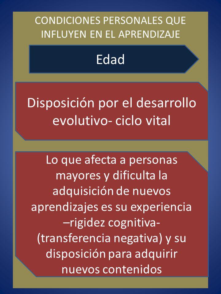 CONDICIONES PERSONALES QUE INFLUYEN EN EL APRENDIZAJE Edad Disposición por el desarrollo evolutivo- ciclo vital Lo que afecta a personas mayores y dif