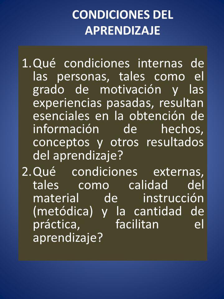 CONDICIONES DEL APRENDIZAJE 1.Qué condiciones internas de las personas, tales como el grado de motivación y las experiencias pasadas, resultan esencia