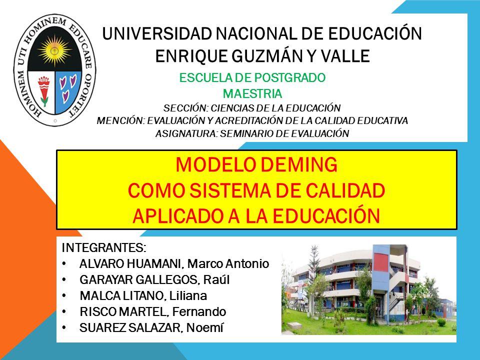 UNIVERSIDAD NACIONAL DE EDUCACIÓN ENRIQUE GUZMÁN Y VALLE ESCUELA DE POSTGRADO MAESTRIA SECCIÓN: CIENCIAS DE LA EDUCACIÓN MENCIÓN: EVALUACIÓN Y ACREDIT