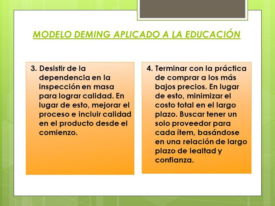 MODELO DEMING APLICADO A LA EDUCACIÓN 3. Desistir de la dependencia en la inspección en masa para lograr calidad. En lugar de esto, mejorar el proceso