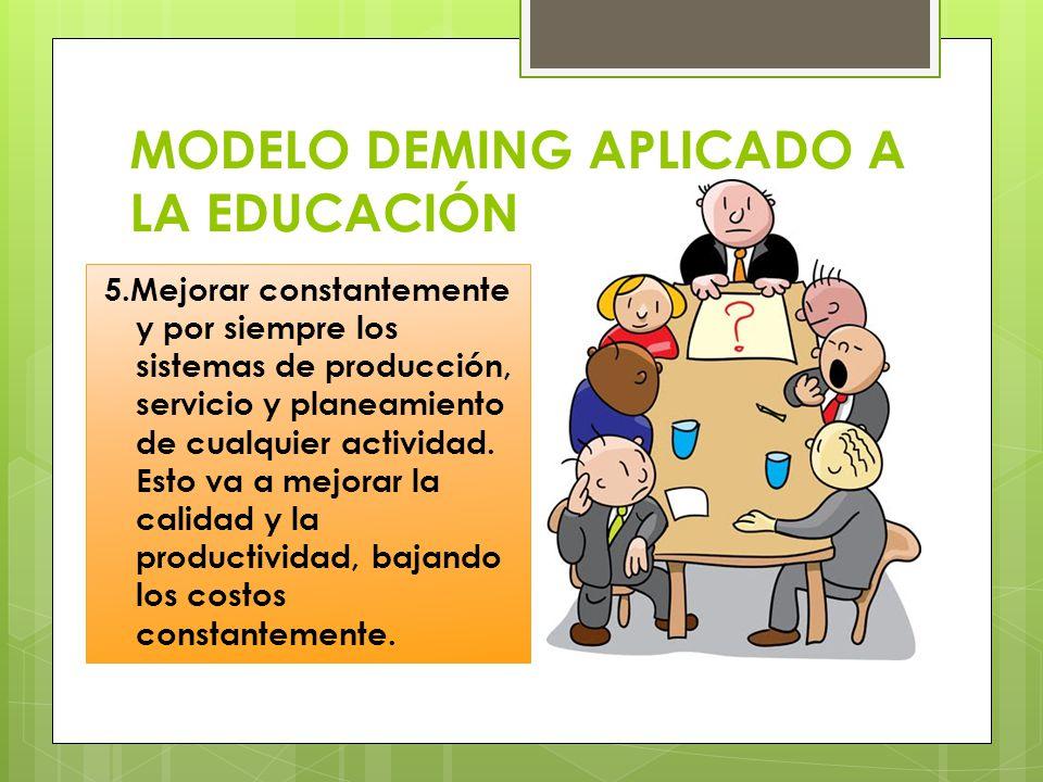 MODELO DEMING APLICADO A LA EDUCACIÓN 5.Mejorar constantemente y por siempre los sistemas de producción, servicio y planeamiento de cualquier activida