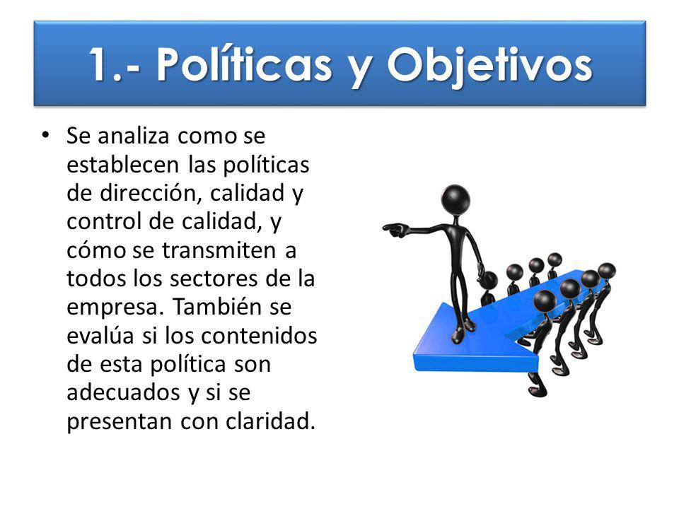 1.- Políticas y Objetivos Se analiza como se establecen las políticas de dirección, calidad y control de calidad, y cómo se transmiten a todos los sec
