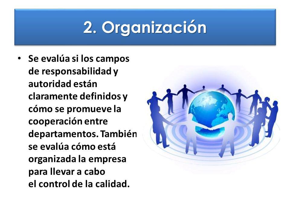 2. Organización Se evalúa si los campos de responsabilidad y autoridad están claramente definidos y cómo se promueve la cooperación entre departamento