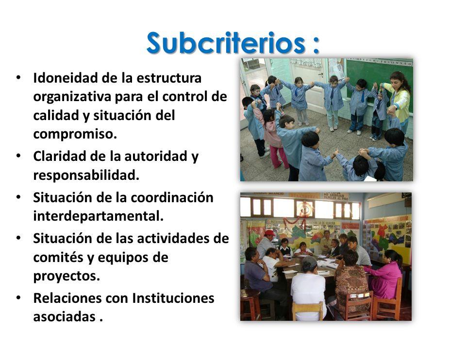 Subcriterios : Idoneidad de la estructura organizativa para el control de calidad y situación del compromiso. Claridad de la autoridad y responsabilid