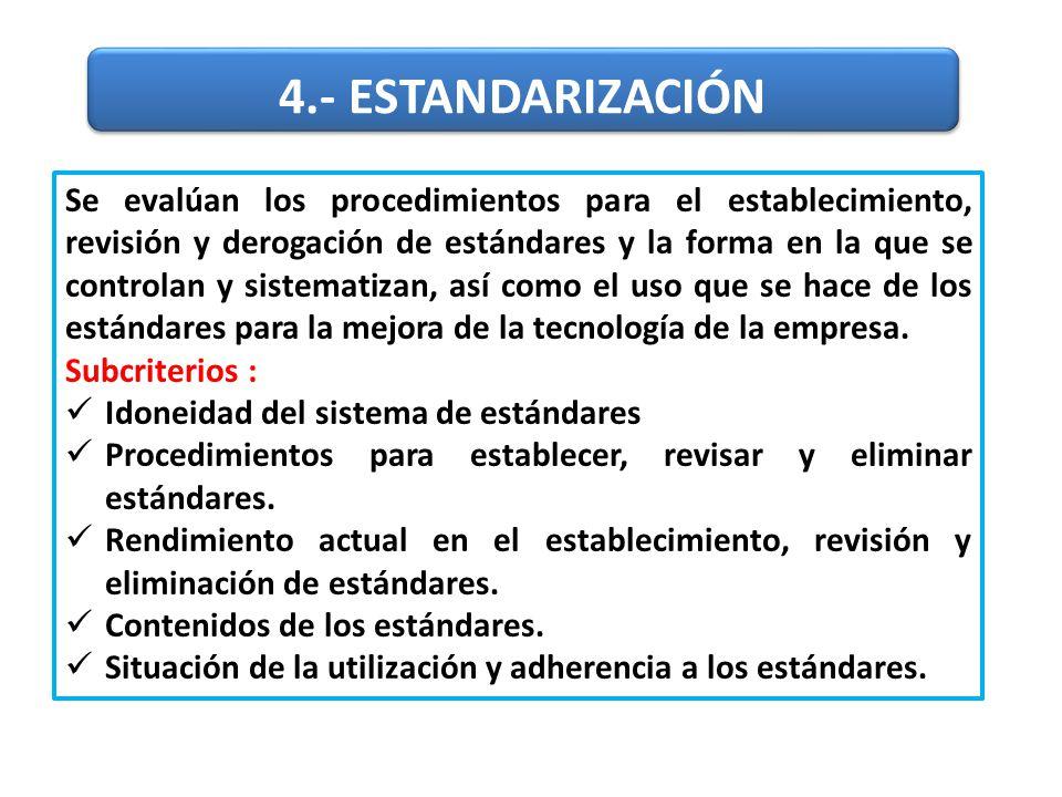 Se evalúan los procedimientos para el establecimiento, revisión y derogación de estándares y la forma en la que se controlan y sistematizan, así como