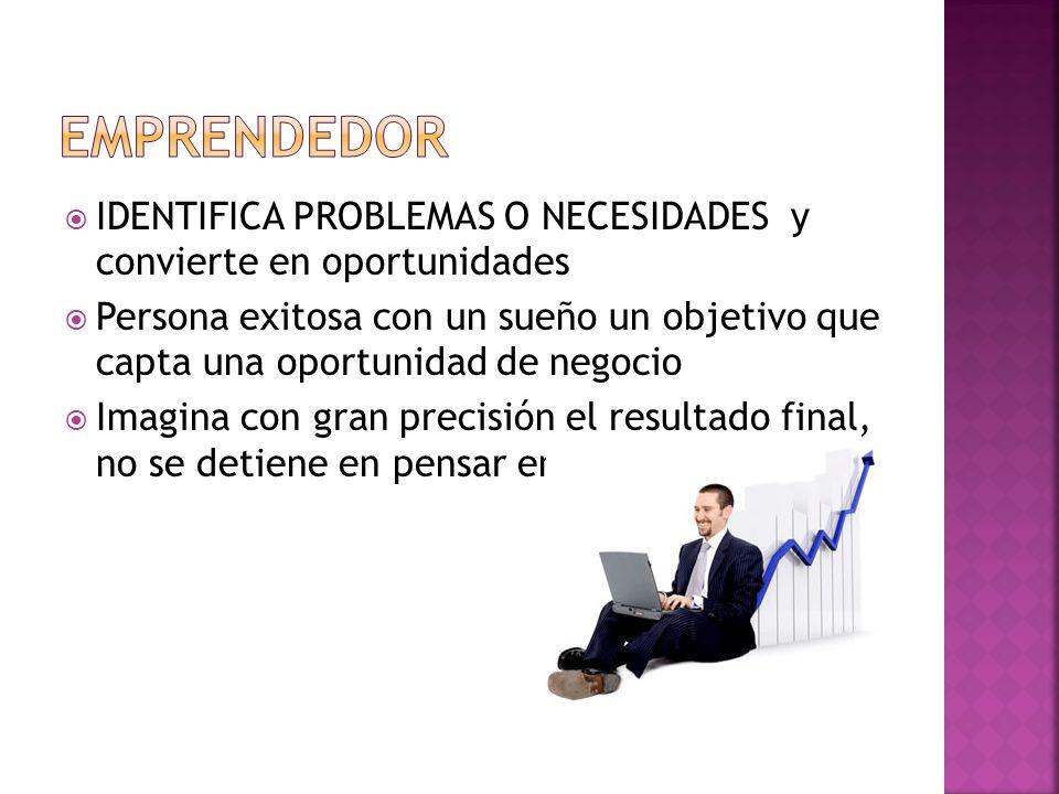 IDENTIFICA PROBLEMAS O NECESIDADES y convierte en oportunidades Persona exitosa con un sueño un objetivo que capta una oportunidad de negocio Imagina