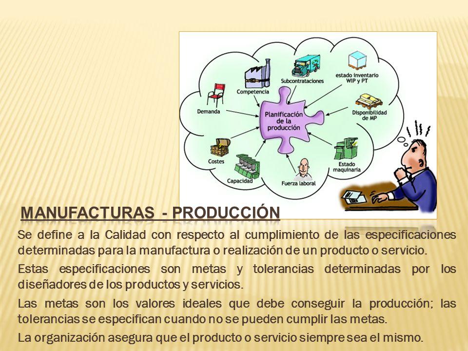 Se define a la Calidad con respecto al cumplimiento de las especificaciones determinadas para la manufactura o realización de un producto o servicio.