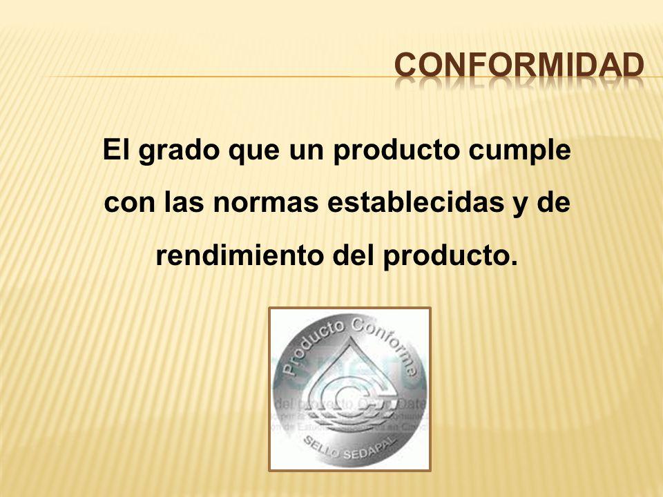 El grado que un producto cumple con las normas establecidas y de rendimiento del producto.