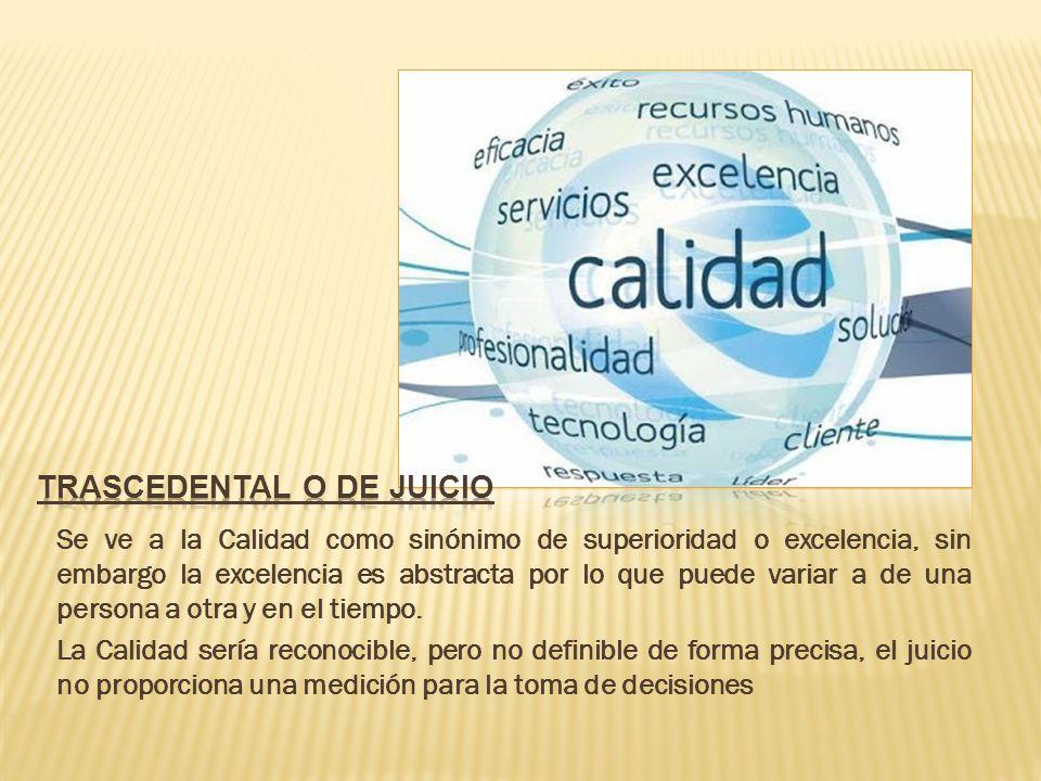 JUICIO O TRASCENDENCIA PRODUCTO USUARIOS VALOR MANUFACTURAS Según Garvin (1988), la CALIDAD, al ser vista con relación a diferentes criterios, resulta