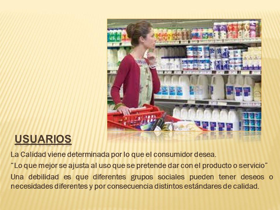 La Calidad viene determinada por lo que el consumidor desea.