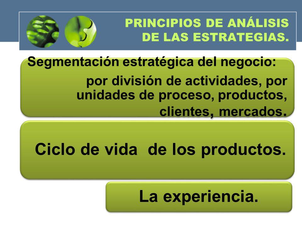 PRINCIPIOS DE ANÁLISIS DE LAS ESTRATEGIAS. Segmentación estratégica del negocio: por división de actividades, por unidades de proceso, productos, clie