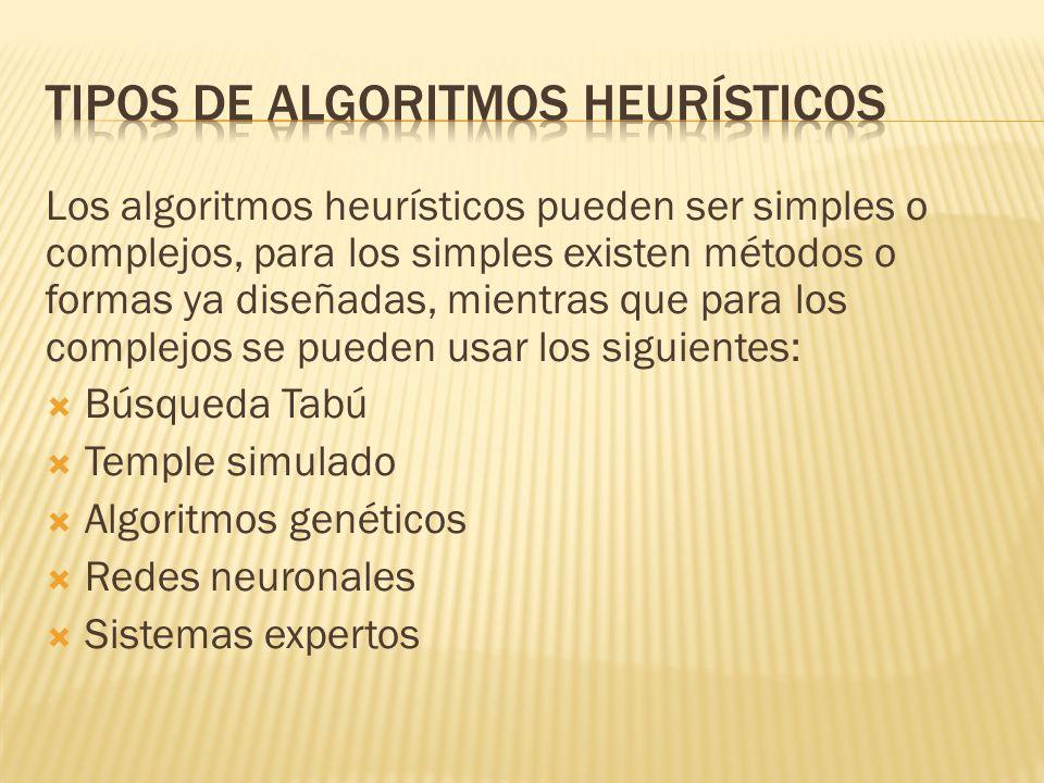 Los algoritmos heurísticos pueden ser simples o complejos, para los simples existen métodos o formas ya diseñadas, mientras que para los complejos se pueden usar los siguientes: Búsqueda Tabú Temple simulado Algoritmos genéticos Redes neuronales Sistemas expertos