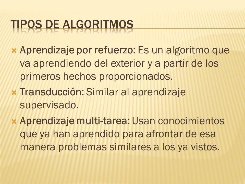 Aprendizaje por refuerzo: Es un algoritmo que va aprendiendo del exterior y a partir de los primeros hechos proporcionados. Transducción: Similar al a