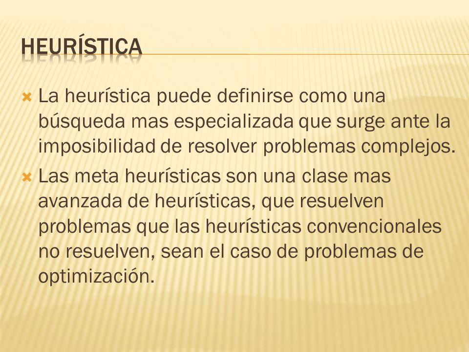 La heurística puede definirse como una búsqueda mas especializada que surge ante la imposibilidad de resolver problemas complejos. Las meta heurística