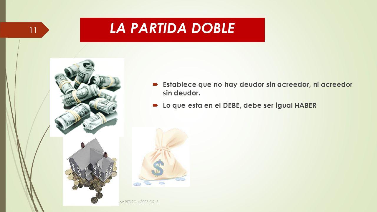 LA PARTIDA DOBLE Establece que no hay deudor sin acreedor, ni acreedor sin deudor.