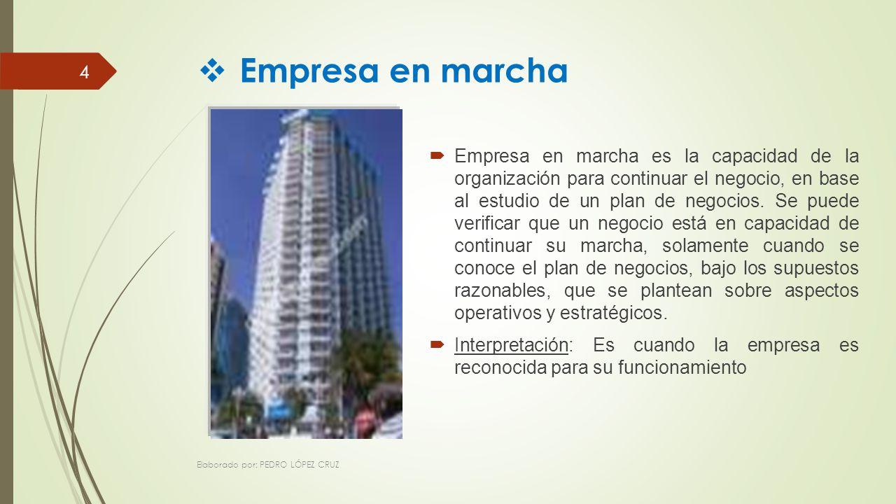 Empresa en marcha es la capacidad de la organización para continuar el negocio, en base al estudio de un plan de negocios.