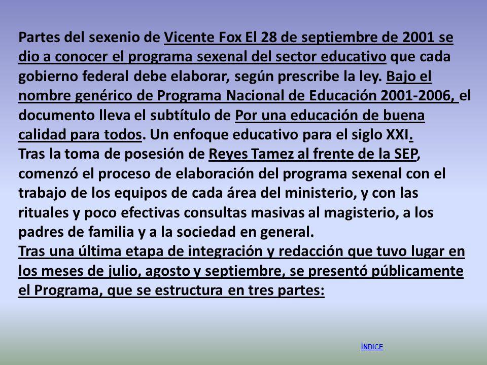 ÍNDICE Partes del sexenio de Vicente Fox El 28 de septiembre de 2001 se dio a conocer el programa sexenal del sector educativo que cada gobierno feder