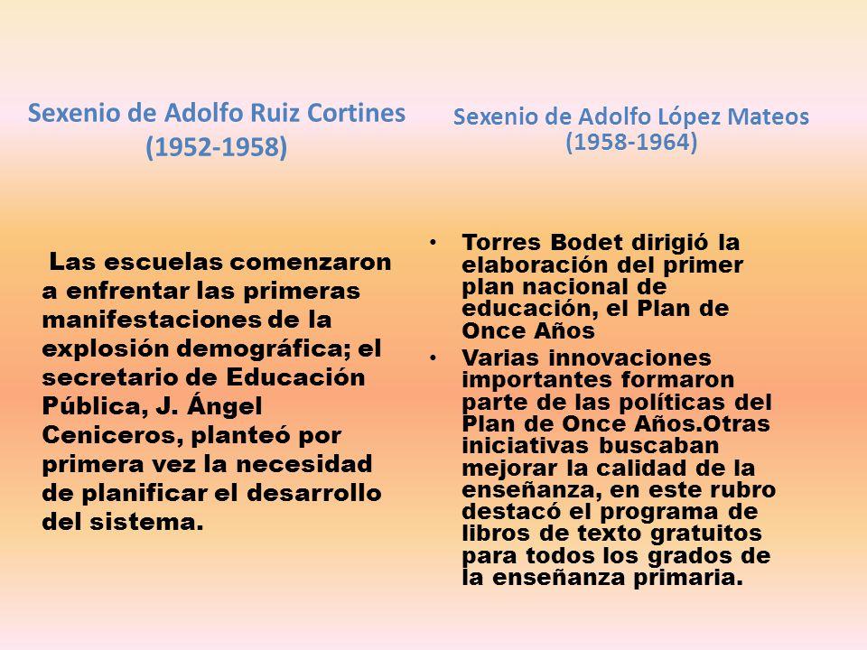 Sexenio de Adolfo Ruiz Cortines (1952-1958) Las escuelas comenzaron a enfrentar las primeras manifestaciones de la explosión demográfica; el secretari