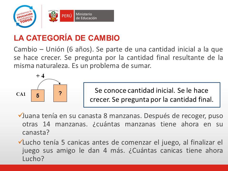 LA CATEGORÍA DE CAMBIO Cambio – Unión (6 años).