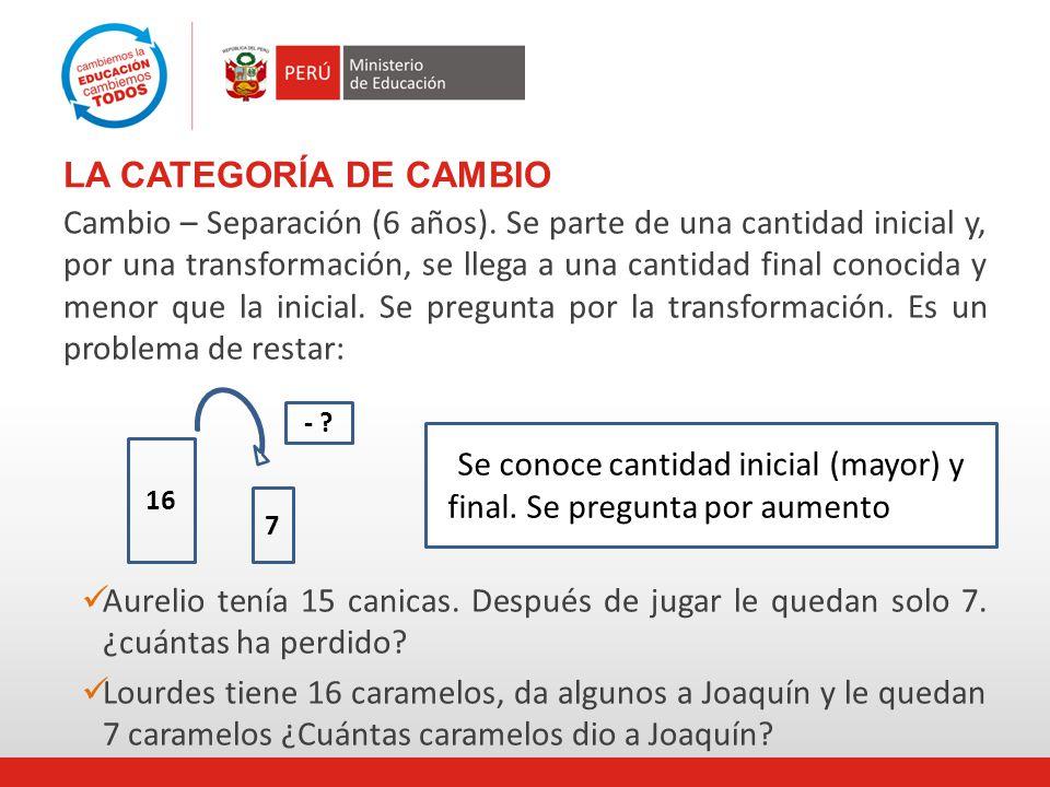 LA CATEGORÍA DE CAMBIO Cambio – Separación (6 años).